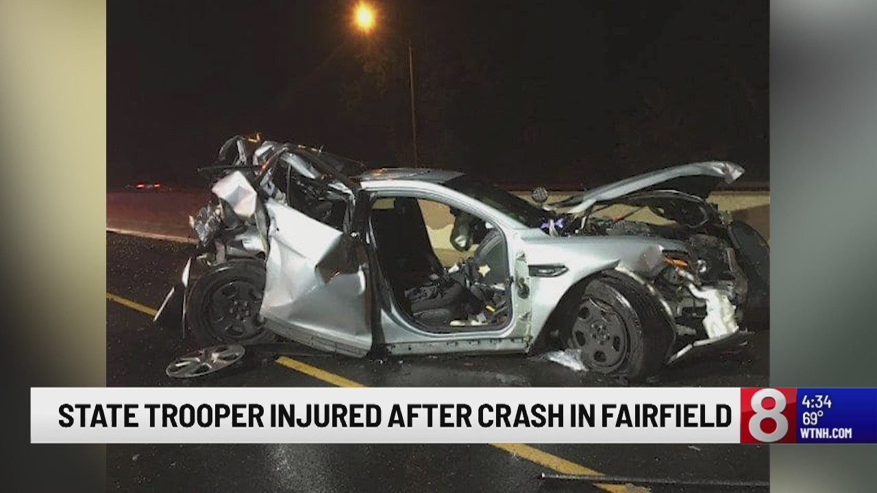 State trooper, 3 others take to hospital after car collision on Interstate 95