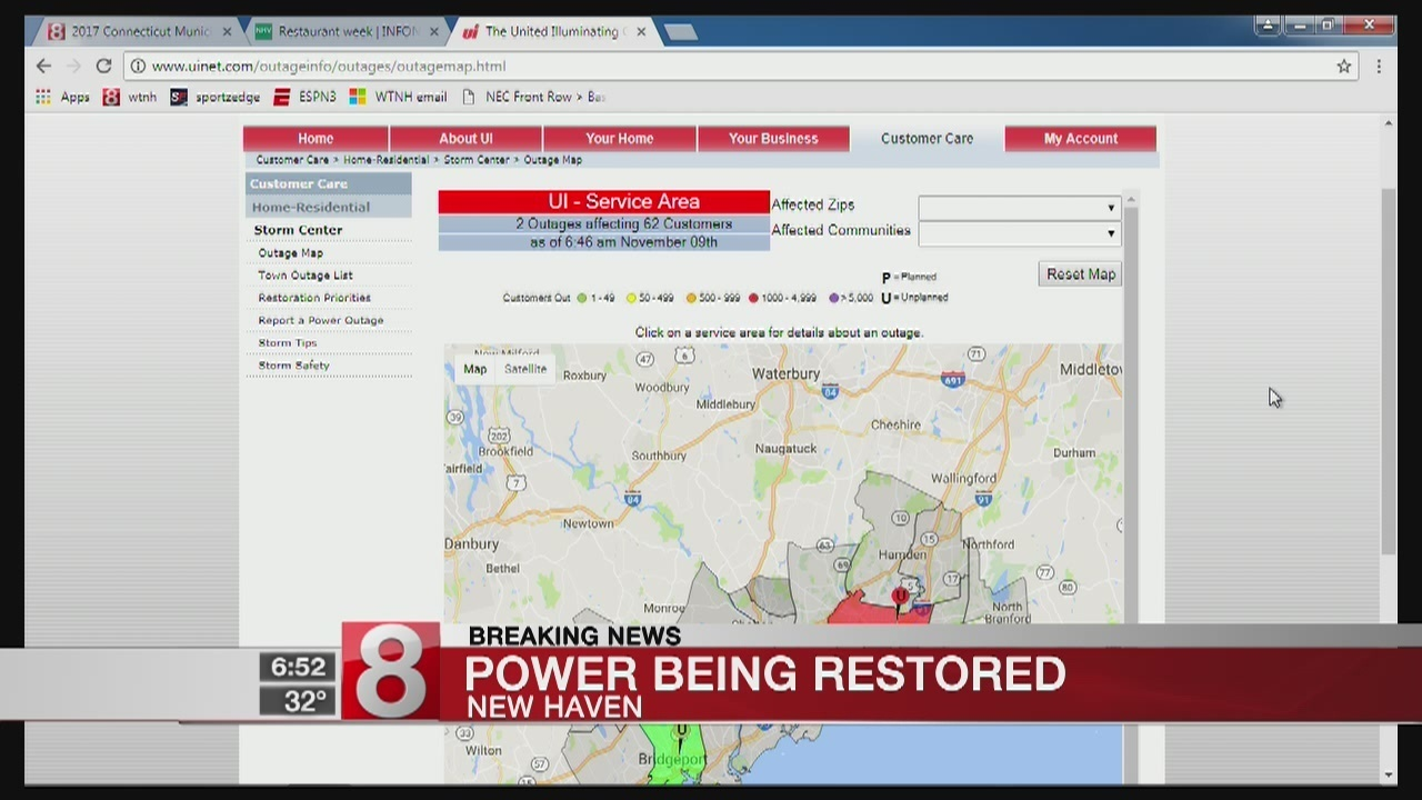 Ct Power Outage Map Ui.Power Restored After Thousands Wake Up To Outage In New Haven