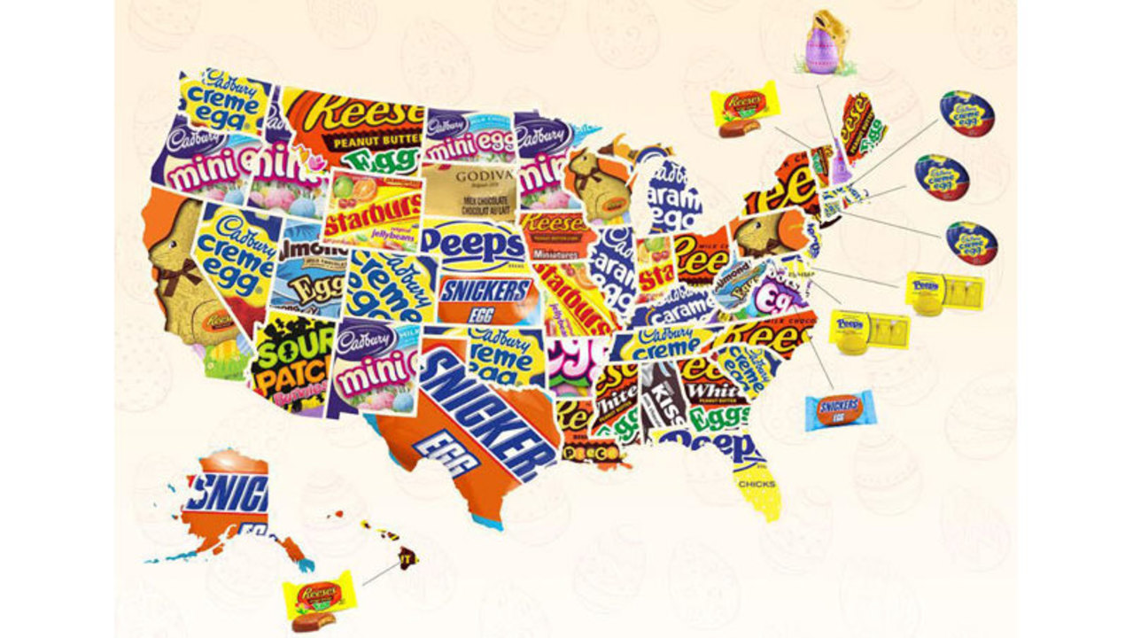 Connecticuts Most Buzzed About Easter Candy Is - Easter-us-map
