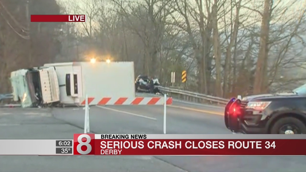 Serious crash closes Route 34 near Derby, Seymour town line