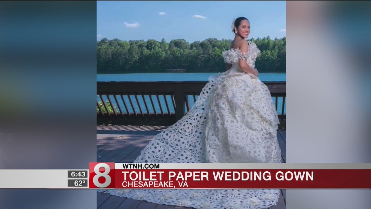 Contestants create wedding gowns out of toilet paper
