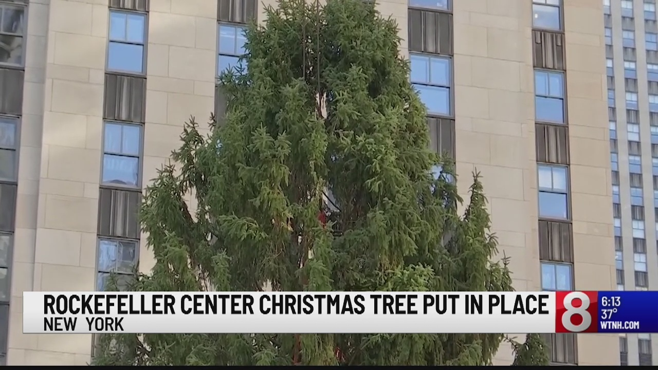 New York City\'s Rockefeller Center Christmas tree goes up