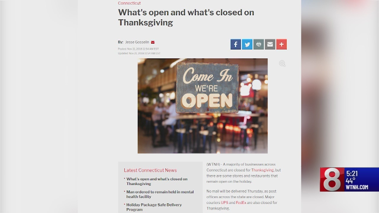 What\'s open and what\'s closed on Thanksgiving