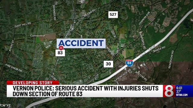 Route 83 in Vernon reopens after serious accident