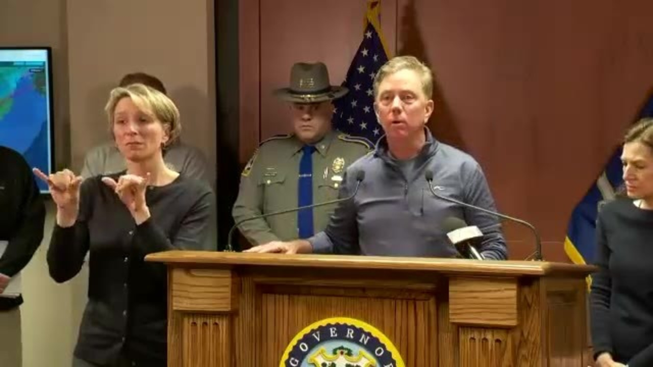 Governor Lamont speaks as wintry weather rolls through