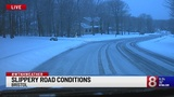 Slippery road conditions for morning commute