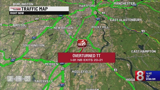 Tractor Trailer Rollover Closes Part Of I 91 North In Middletown