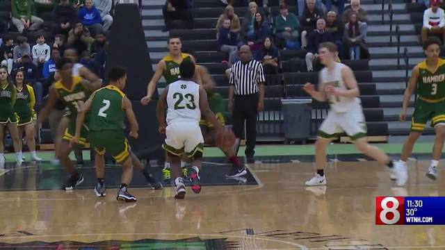 f32904985331 Notre Dame boys basketball takes down Hamden in SCC semifinals