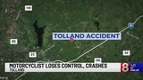 Motorcyclist not seriously injured in Tolland crash