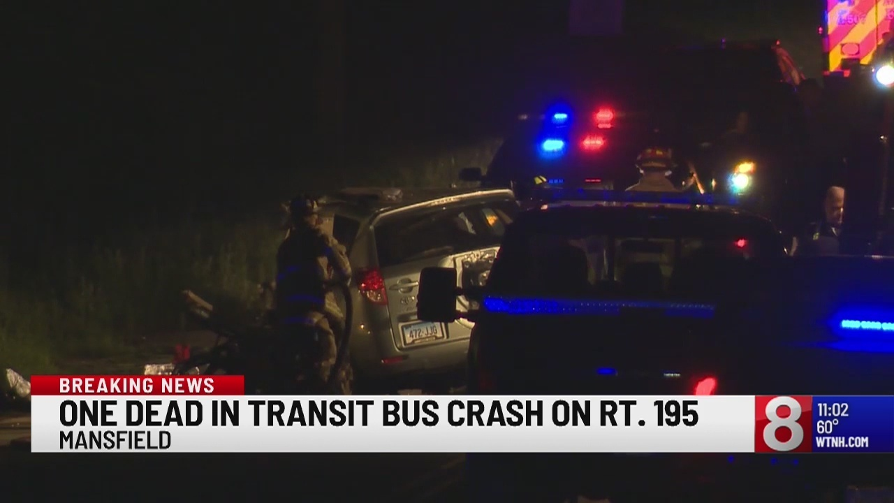 1 dead after crash involving transit bus on Route 195 in Mansfield